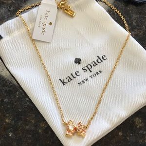 New Kate Spade New York Small Bow Tie Necklace